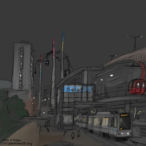 Conceptual night-time view of SkyLine gondola to Outer Harbor, Buffalo NY
